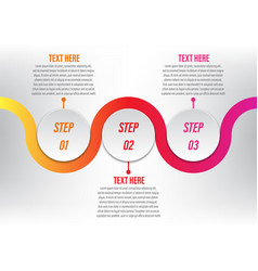 infographic circle curve 3 step vector image