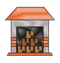 piled cardboard boxes inside storage icon imag vector image vector image