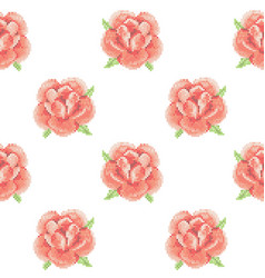 seamless pattern with cross stitch red roses vector image vector image