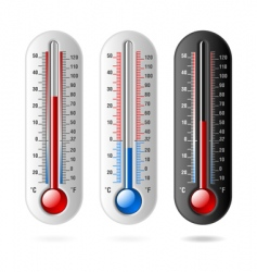thermometers celsius and fahrenheit vector image vector image