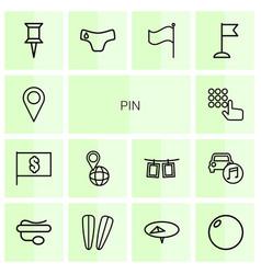 14 pin icons vector image