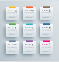 9 infographics rectangle paper index with data vector