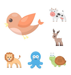An unrealistic cartoon animal icons in set vector