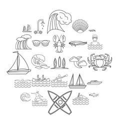 Aqua icons set outline style vector