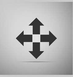 arrows in four directions icon on grey background vector image