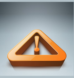 attention danger realistic 3d icon with reflect vector image