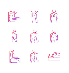 Back and posture problems gradient linear icons vector