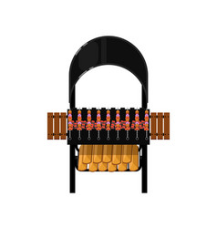 Barbecue grill with grilled kebabs icon vector