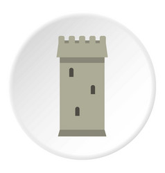 Battle tower guarding the fortress icon circle vector