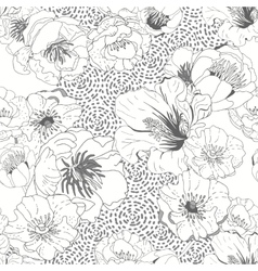 Black and white seamless floral background vector