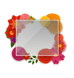 Blank white frame with color flowers template vector