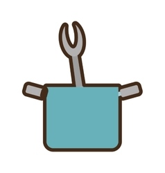 blue pot grill fork utensil kitchenware vector image
