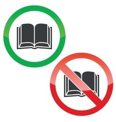 Book permission signs set vector
