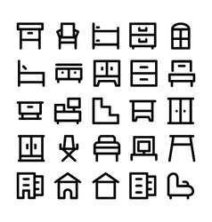 Buildings and Furniture Icons 9 vector