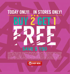 buy 2 get 1 free background banner vector image