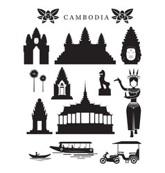 Cambodia landmarks and culture object set vector