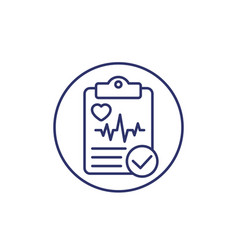 Cardiogram heart diagnosis report line icon vector