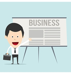 Cartoon business man with presentation vector image