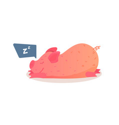 cartoon pig is sleeping on the ground vector image