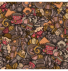 Coffee Doodle Seamless Pattern vector image