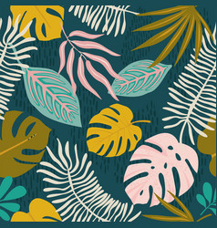 collage contemporary floral hawaiian pattern vector image