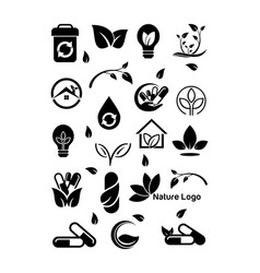 collection ecology green madical nature symbol vector image vector image
