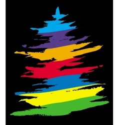 Colored Christmas tree on black background vector image