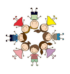 colorful circular shape with group cartoon vector image