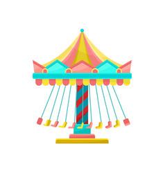 colourful merry go round amusement park element vector image
