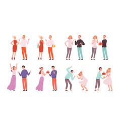 couples swear family quarrels and reconciliation vector image