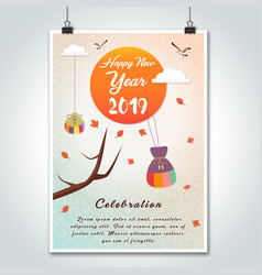 Creative happy new year korean style poster 2019 vector