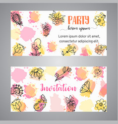 Creative invitation card with flowers hand drawn vector