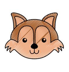 Cute scribble fox face cartoon vector