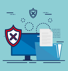 data center security with desktop vector image