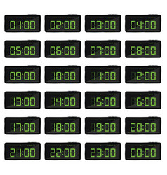 Digital clock with green numbers vector