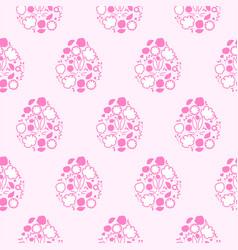 Easter egg floral cartoon style card design happy vector