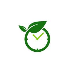 eco time logo icon design vector image