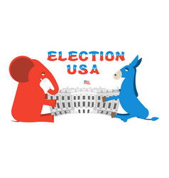 Elephant and donkey divide white house vector