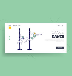 Female characters practicing pole dance landing vector