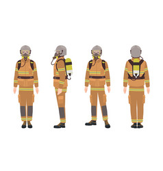 Firefighter or fireman wearing protective gear vector