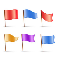 flags set multi colored pins vector image