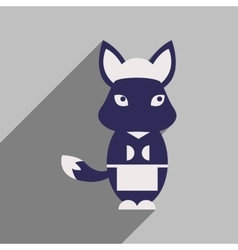 Flat icon with long shadow fox cartoon vector