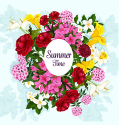 Floral poster garden blooming flowers vector