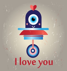 funny love with a robot vector image