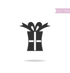 Gift box Packing for surprise Flat black icon vector