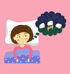 Girl counting sheep to sleep cartoon vector