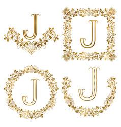 Golden j letter ornamental monograms set heraldic vector