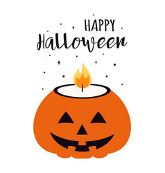 halloween card with pumpkin candle vector image