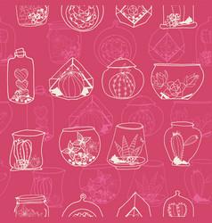 hand drawn monochrome pink line art terrarium vector image