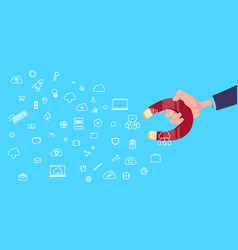 Hand hold magnet communication data cloud internet vector